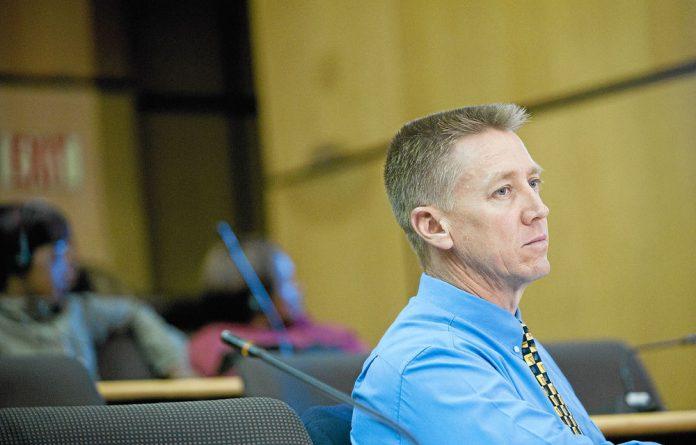 Duncan Scott testifying at the Marikana Commission.