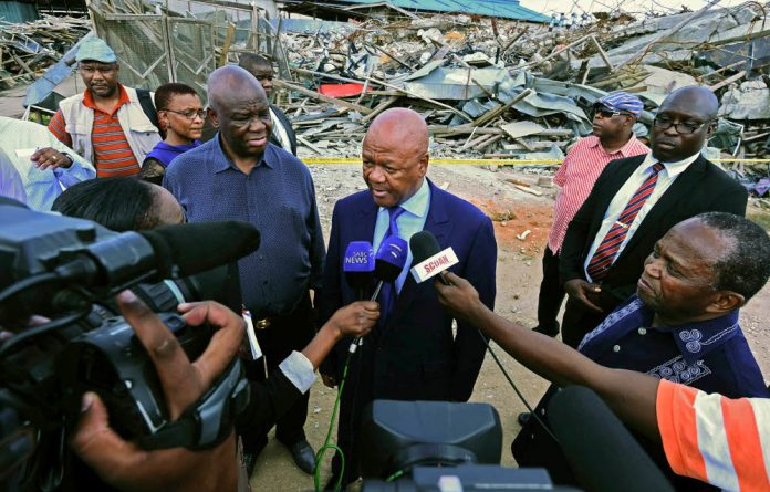 Minister in the Presidency Jeff Radebe at the scene of the Lagos church collapse.