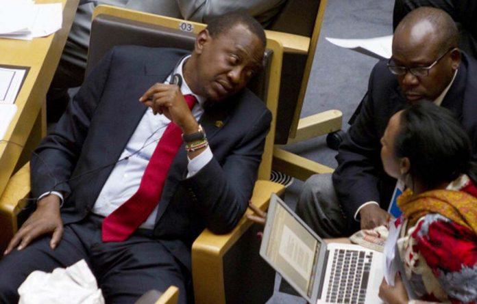A file photograph of Kenya President Uhuru Kenyatta at an AU meeting.