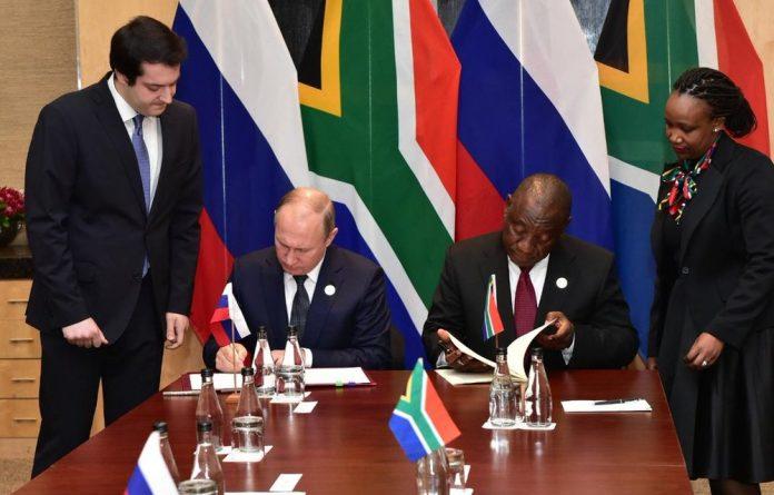 President Vladimir Putin and President Cyril Ramaphosa