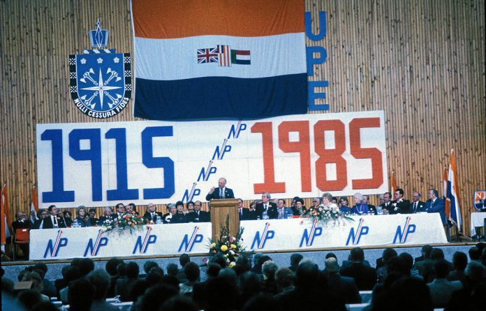 PW Botha addresses the1985 National Party congress in Port Elizabeth.