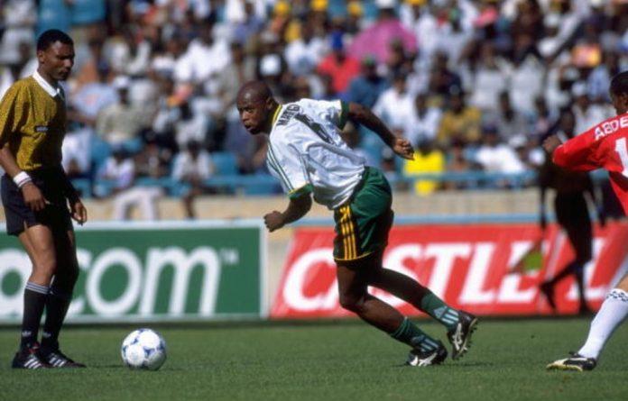 Bafana Bafana's Phil Masinga in action against Egypt in the Nelson Mandela Inauguration Challenge friendly in Johannesburg