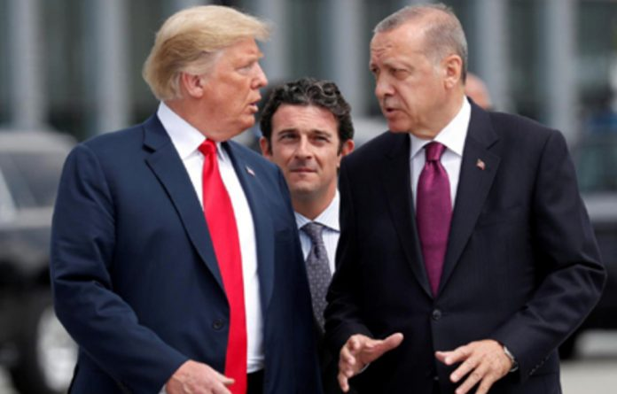 President Trump and President Recep Tayyip Erdogan at the start of the Nato summit in July.