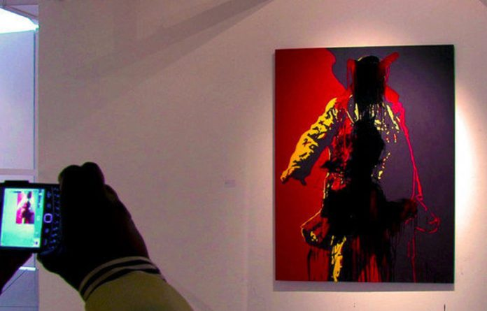 Brett Murray's defaced painting at the Goodman Gallery in Johannesburg.
