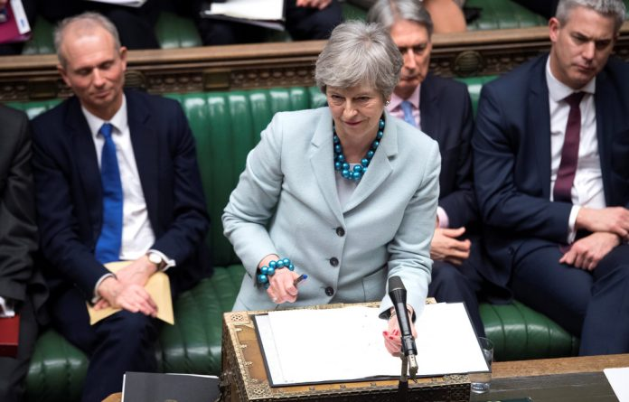 British Prime Minister Theresa May speaks in Parliament in London