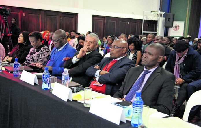 Gauteng Provincial Legislature's Presiding Officers and the Premier of Gauteng; David Makhura in the front row intently taking note of the comments from the youth