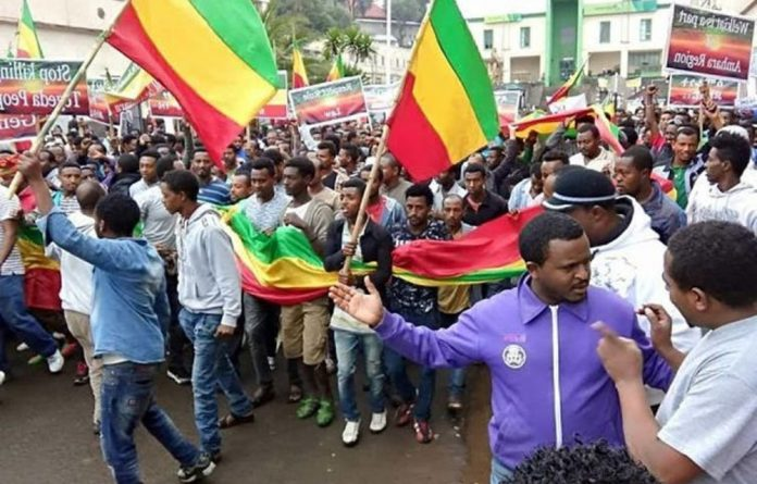 Protests are taking place in Ethiopia's Amhara region an opposition stronghold.