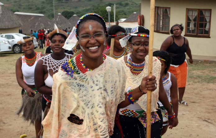 Duduzile and Phumzile Zuma during their joint coming-of-age ceremony at the Zuma homestead in Nkandla. Did Duduzile benefit from the Gold Fields empowerment deal?