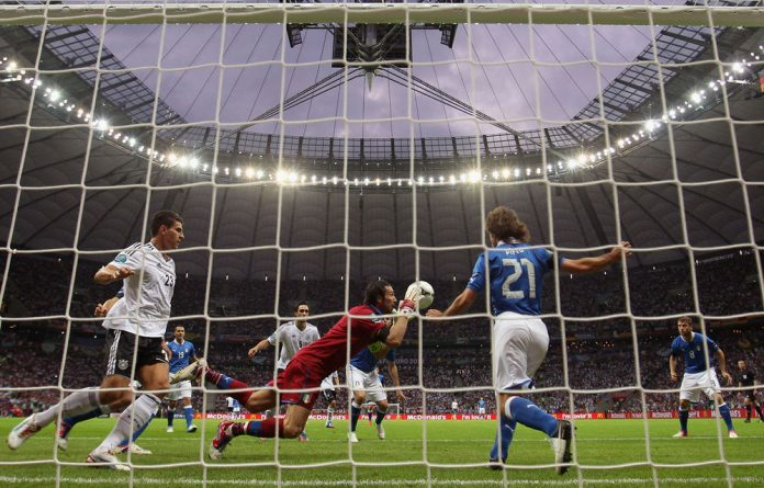 Gianluigi Buffon of Italy makes a save during the Uefa EURO 2012 semifinal against Germany on Thursday.