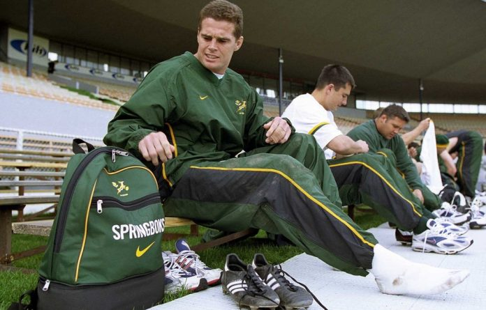 South Africa's loose forward Rassie Erasmus prepares for their final training session at Jade Stadium July 21 2000