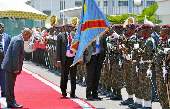 President Jacob Zuma ahead of his meeting with Joseph Kabila in Kinshasa.