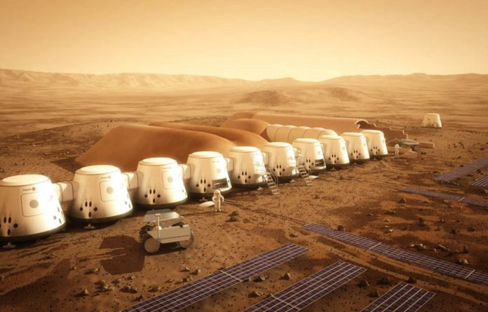 An artist's rendering of the Mars One site.