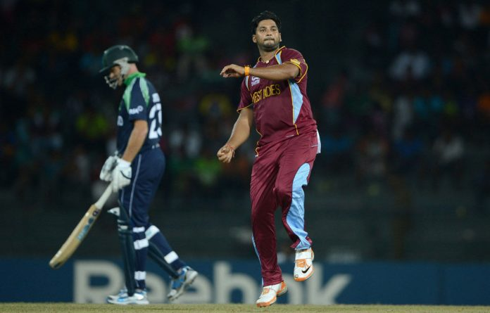 Ravi Rampaul of the West Indies celebrates bowling Kevin O'Brien of Ireland during the ICC World Twenty20 2012 Group B match.