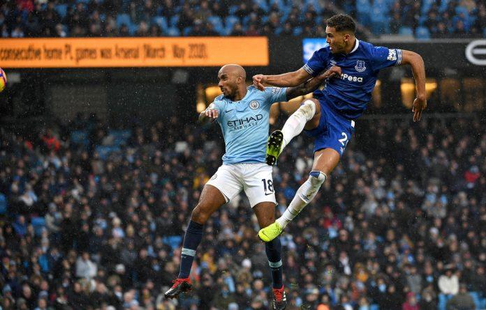 Airborne: Everton striker Dominic Calvert-Lewin
