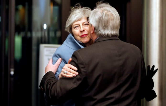 European Commission President Jean-Claude Juncker welcomes British Prime Minister Theresa May in Strasbourg