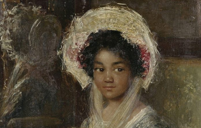 Young Girl Holding a Fan by Simon Maris – the painting used to be called Young Negro Girl.