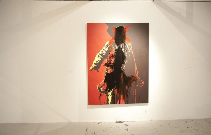 The controversial artwork was defaced at the Goodman Gallery.