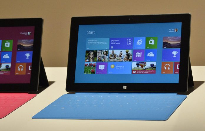 Microsoft's new tablet Surface shown during the press conference in California.