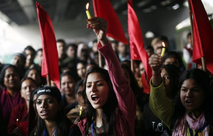 A protest to mark the first anniversary of the Delhi gang rape