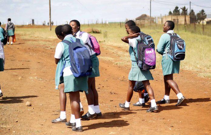 Pupils walking to school.