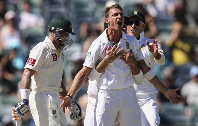 Influencer: Dale Steyn celebrates dismissing Michael Hussey of Australia in 2012 in Perth. The irrepressible wicket-taker's momentos make their way to the streets and fields of his home town