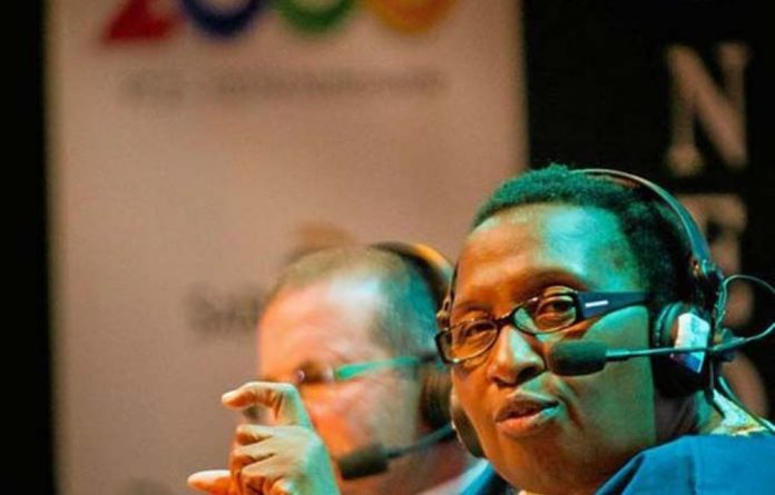 Maggie Makgoba speaks on behalf of teachers at the M&G Critical Thinking Forum on education.