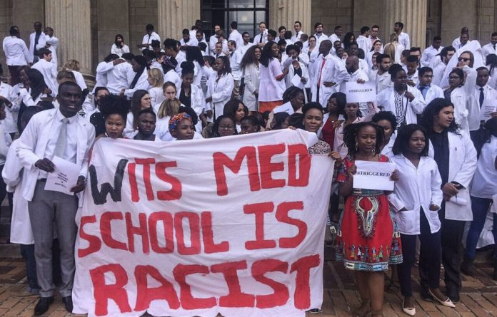 Photobomb: A Wits University class photo was interrupted by students protesting alleged racism in the medical school