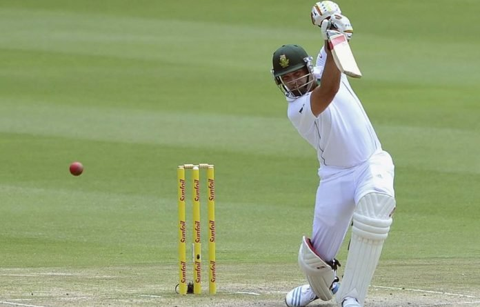 Jacques Kallis plays a shot during the final day of their cricket test match against India.
