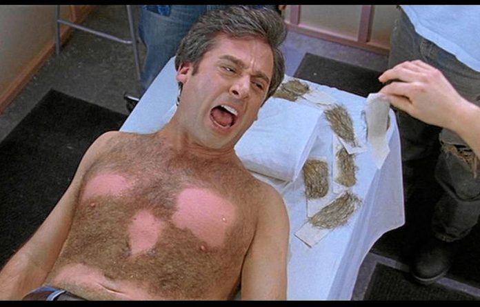 Movies like The 40-Year-Old Virgin have inspired men to give the painful process of waxing and 'manscaping' a try
