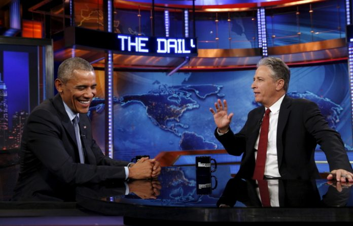 U.S. President Barack Obama makes an appearance on The Daily Show with Jon Stewart.