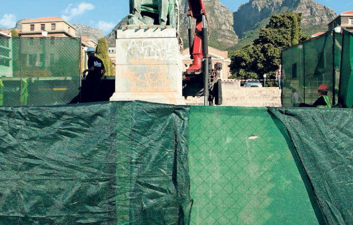 About turn: The statue of Cecil John Rhodes was removed from the UCT campus.