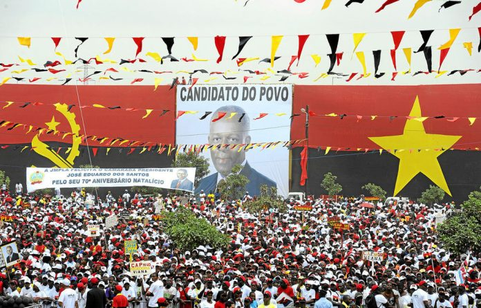 Supporters of the ruling MPLA in Angola attend the final rally of President José Eduardo dos Santos in Kilamba Kaixi.
