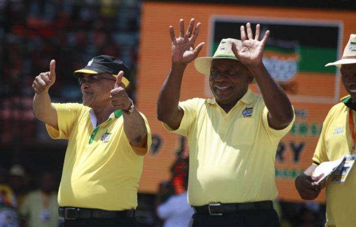President Jacob Zuma and Cyril Ramaphosa at the ANC's 104th birthday celebration in Rustenburg.