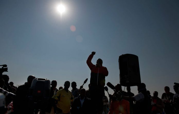 Expelled ANC Youth League leader Julius Malema addresses Lonmin miners.
