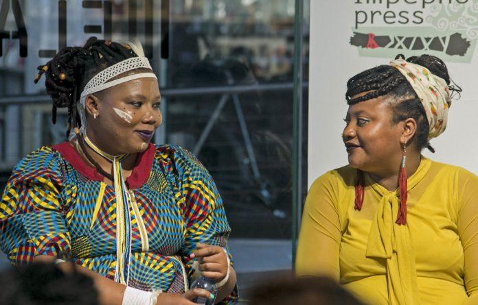 Telling stories: Vangile Gantsho and Danai Mupotsa in conversation at the launch of their books by Impepho Press in Braamfontein. Photo: Boipelo Khunou
