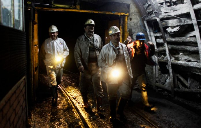 Miners at work in a coal mine in Turkey's Black Sea city of Zonguldak.