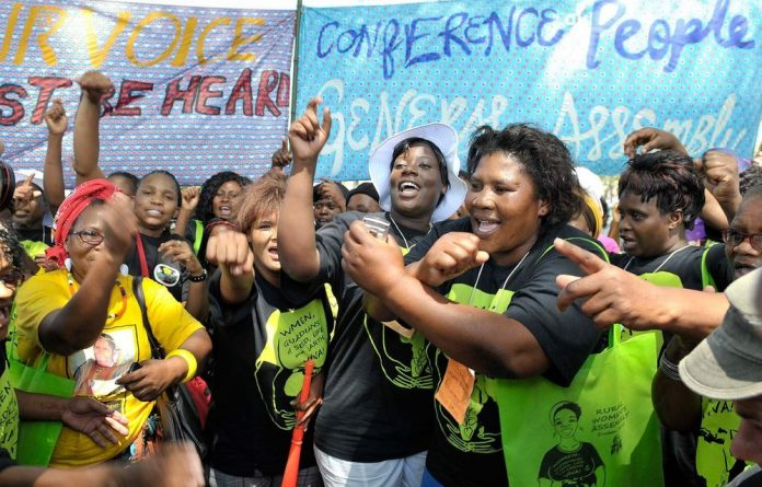 Rural Women Assembly participating in the march for climate change in Durban.