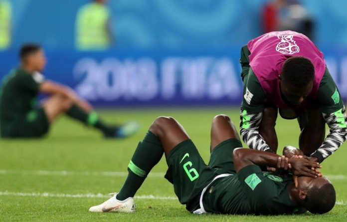 Nigeria's players react after the loss to Argentina in the 2018 world cup.