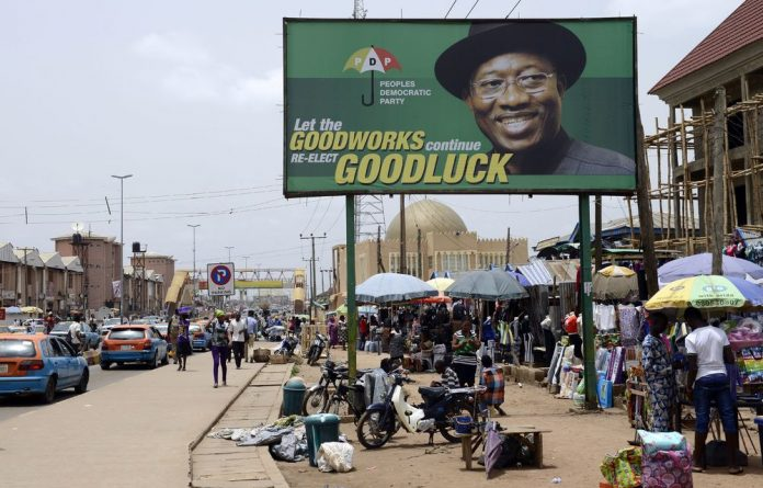 A poster of former Nigerian president Goodluck Jonathan during his election campaign.