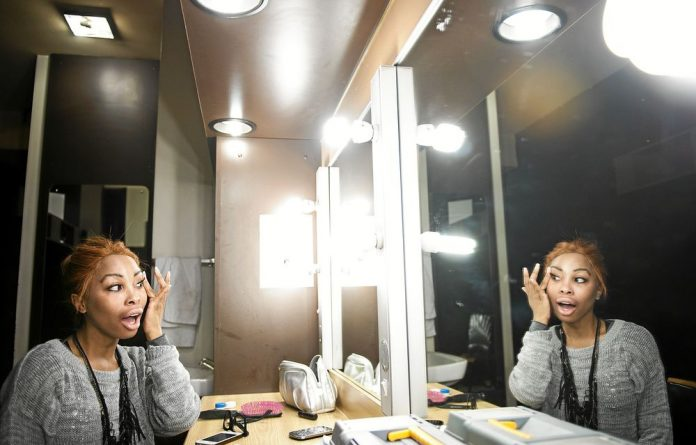 Theatrical: Khanyi Mbau backstage at the State Theatre where she is playing the late Lebo Mathosa in Drama Queen.