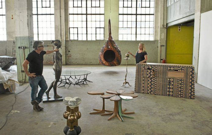 Husband-and-wife-team: Trevyn and Julian McGowan prepare for the exhibition at the Museum of African Design in Maboneng