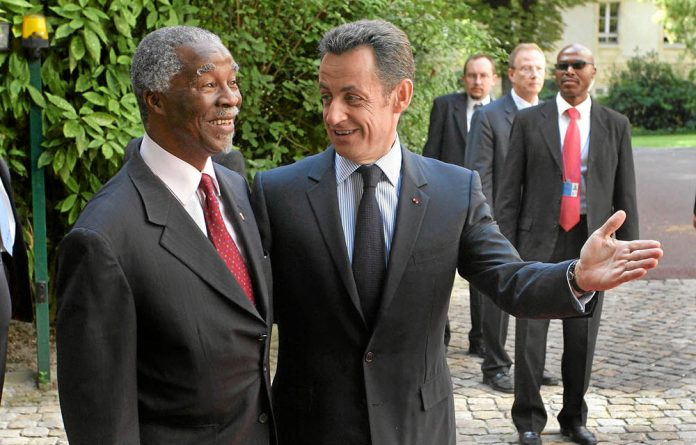 Thabo Mbeki and his French counterpart Nicolas Sarkozy in 2008.