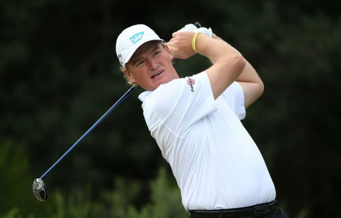 Ernie Els watches his tee shot on the second hole during the final round of the 141st British Open on Sunday.
