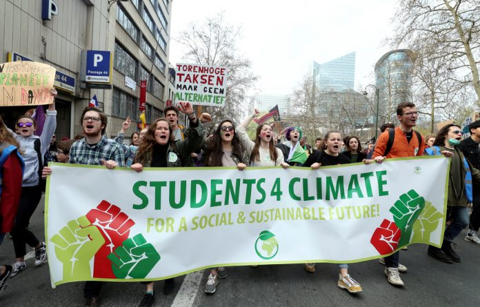 Students in Brussels march against climate change.