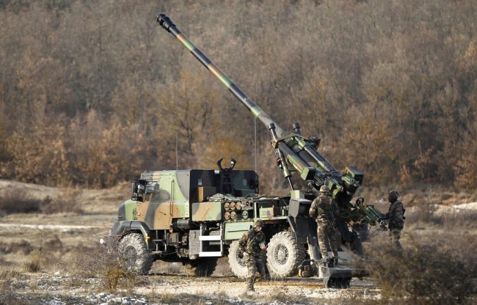 A Caesar self-propelled gun is seen during a shooting exercise involving 155-mm mobile artillery systems at a training ground in Canjuers southern France.