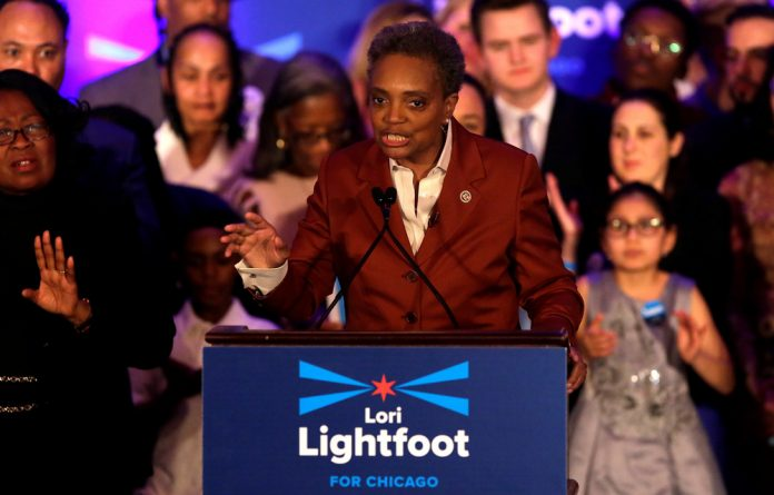 Lori Lightfoot speaks during her election night celebration after defeating her challenger Toni Preckwinkle in a runoff election in Chicago
