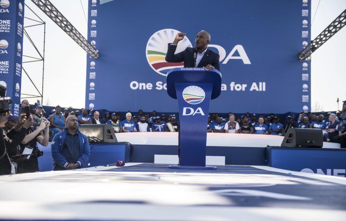 DA leader Mmusi Maimane addresses his supporters at the Phetogo rally.