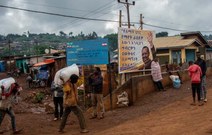 A poster celebrating Ethiopia's prime minister