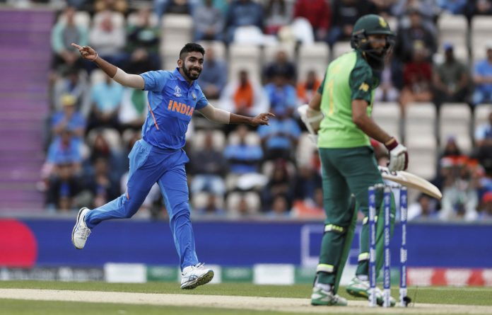 India's assault weapon Jasprit Bumrah celebrates taking the wicket of South Africa's Hashim Amla.