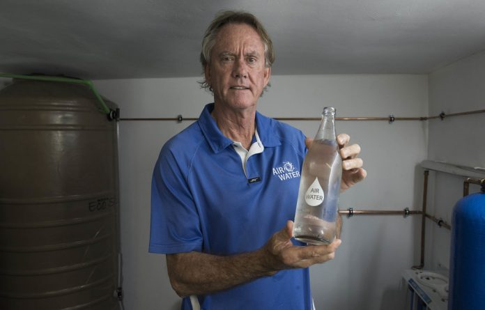 Fresh idea: Ray de Vries's company  in Hout Bay 'manufactures' water from the humidity in the air and bottles it in glass bottles with steel caps